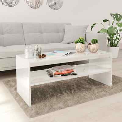 vidaXL Coffee Table with a Shelf High Gloss White Chipboard