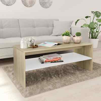 vidaXL Coffee Table with a Shelf White and Sonoma Oak