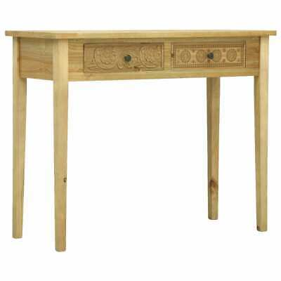 vidaXL Console Table with 2 Drawers Carving Brown Wood Hall
