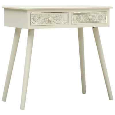 vidaXL Console Table with 2 Drawers Carving Grey Wood Hall