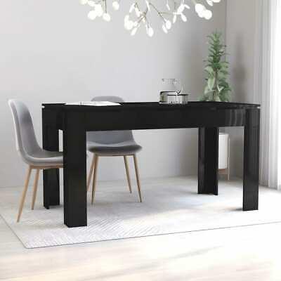 vidaXL Dining Table High Gloss Black Chipboard Home Kitchen