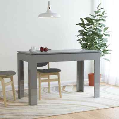 vidaXL Dining Table High Gloss Grey Chipboard Home Kitchen