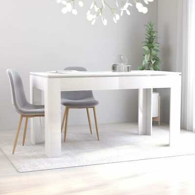 vidaXL Dining Table High Gloss White Chipboard Home Kitchen