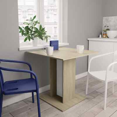 vidaXL Dining Table White and Sonoma Oak 80cm Chipboard