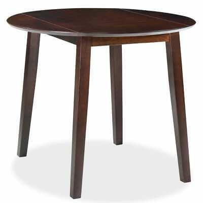 vidaXL Drop-leaf Dining Table Round MDF Brown Space Saving