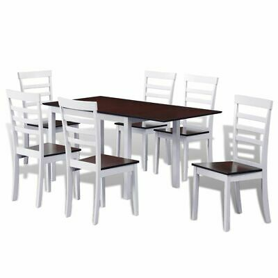 vidaXL Extending Dining Set 7 Piece Brown and White Kitchen