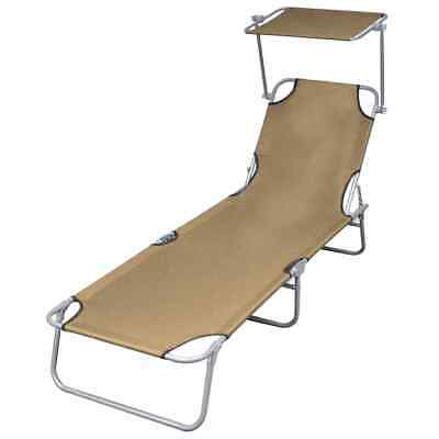 vidaXL Foldable Sunlounger with Canopy Taupe Outdoor Daybed
