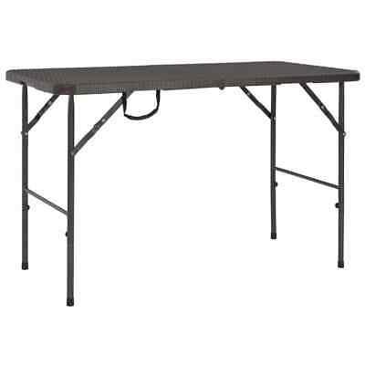 vidaXL Folding Garden Table HDPE Brown Rattan Look Outdoor