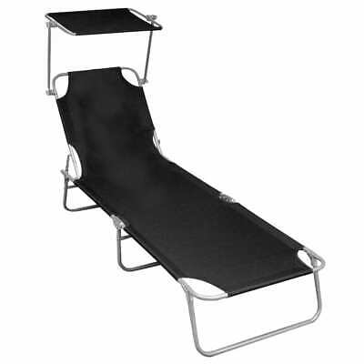 vidaXL Folding Sun Lounger with Canopy Black Aluminium Park