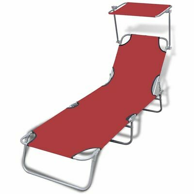 vidaXL Folding Sun Lounger with Canopy Steel and Fabric Red