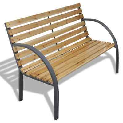 vidaXL Garden Bench 112cm Wood and Iron Outdoor Patio Park