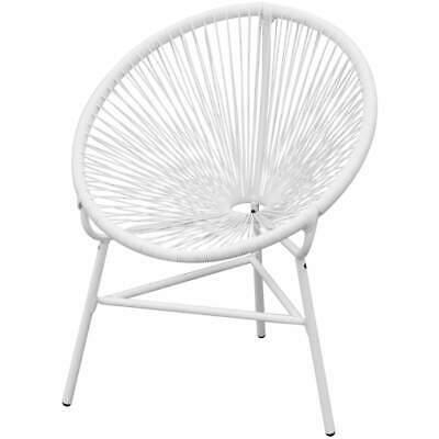 vidaXL Garden Chair Poly Rattan White Outdoor Party Picnic