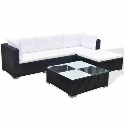 vidaXL Garden Lounge Set 14 Pieces Poly Rattan Black Outdoor