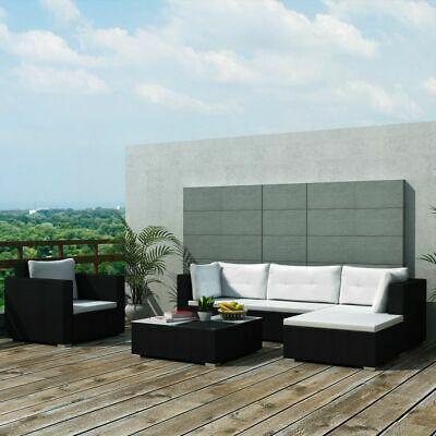 vidaXL Garden Lounge Set 17 Pieces Poly Rattan Black Outdoor