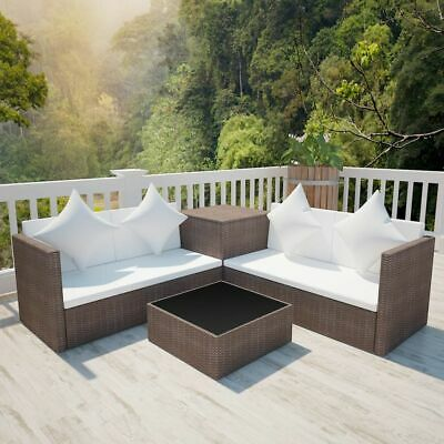 vidaXL Garden Sofa Set 14 Pieces Poly Rattan Brown Outdoor