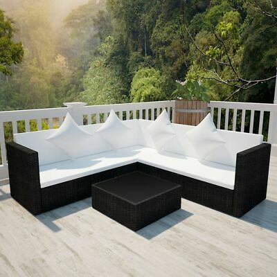vidaXL Garden Sofa Set 17 Pieces Poly Rattan Black Outdoor