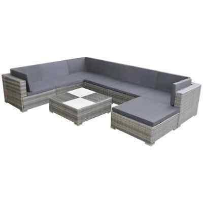 vidaXL Garden Sofa Set 24 Piece Poly Rattan Grey Outdoor