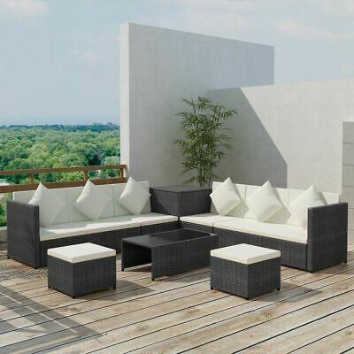 vidaXL Garden Sofa Set 26 Pieces Poly Rattan Black Outdoor
