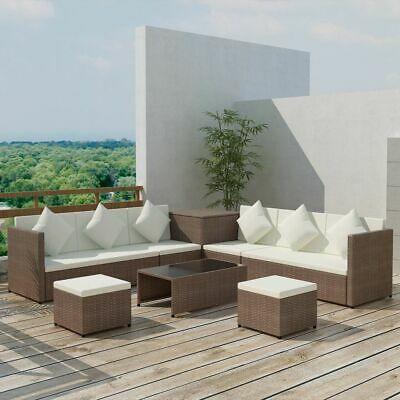 vidaXL Garden Sofa Set 26 Pieces Poly Rattan Brown Outdoor