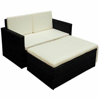vidaXL Garden Sofa Set 7 Pieces Poly Rattan Black Outdoor