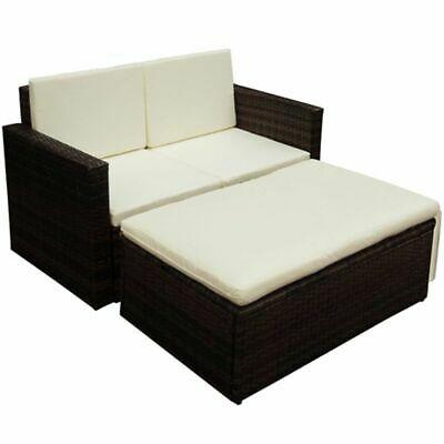 vidaXL Garden Sofa Set 7 Pieces Poly Rattan Brown Outdoor