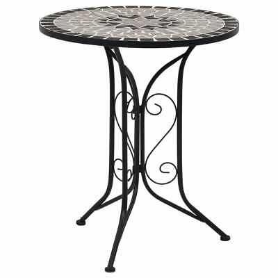 vidaXL Mosaic Bistro Table Grey 61 cm Ceramic Outdoor Garden