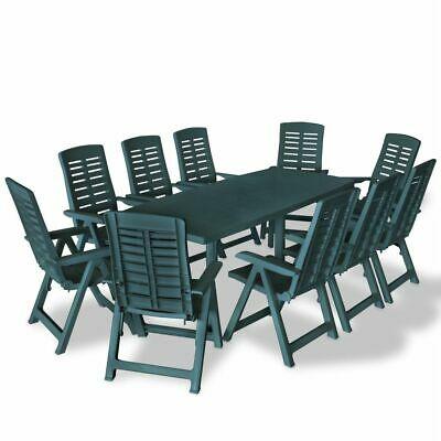 vidaXL Outdoor Dining Set 11 Piece 210x96x72cm Green Patio