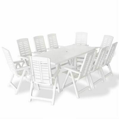 vidaXL Outdoor Dining Set 11 Piece 210x96x72cm White Patio