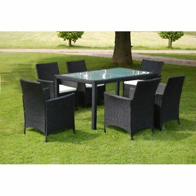 vidaXL Outdoor Dining Set 13 Pieces Black Poly Rattan Glass