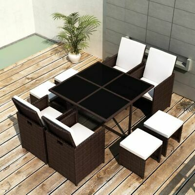 vidaXL Outdoor Dining Set 21 Pieces Brown Poly Rattan Garden