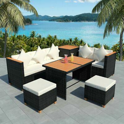 vidaXL Outdoor Dining Set 22 Piece Poly Rattan WPC Top Black