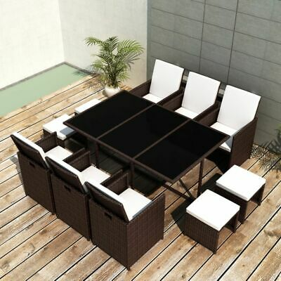 vidaXL Outdoor Dining Set 27 Pieces Brown Poly Rattan Garden