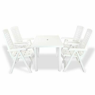 vidaXL Outdoor Dining Set 5 Piece 126x76x72cm White Garden