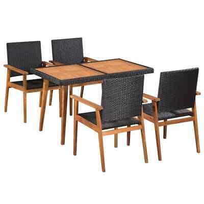 vidaXL Outdoor Dining Set 5 Piece Poly Rattan Black and