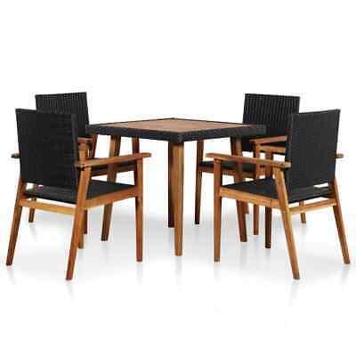 vidaXL Outdoor Dining Set 5pcs Poly Rattan Black and Brown