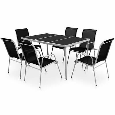 vidaXL Outdoor Dining Set 7 Piece Black Glass Tabletop