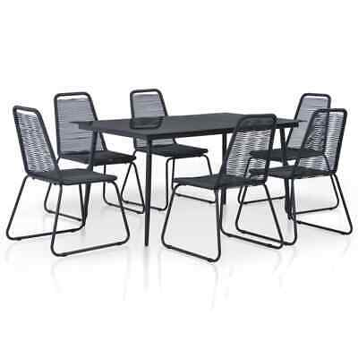 vidaXL Outdoor Dining Set 7 Piece Poly Rattan Black Garden