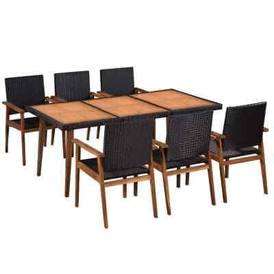 vidaXL Outdoor Dining Set 7 Piece Poly Rattan Black and