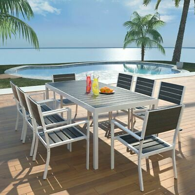 vidaXL Outdoor Dining Set 9 Piece 185x90x74cm Aluminium WPC