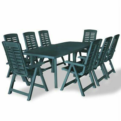 vidaXL Outdoor Dining Set 9 Piece 210x96x72cm Green Garden