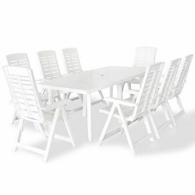 vidaXL Outdoor Dining Set 9 Piece 210x96x72cm White Garden