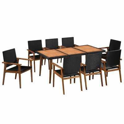 vidaXL Outdoor Dining Set 9 Piece Poly Rattan Black and
