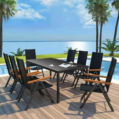 vidaXL Outdoor Dining Set 9 Piece Poly Rattan and Glass
