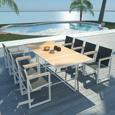 vidaXL Outdoor Dining Set 9 Pieces 220x100x72cm Aluminium