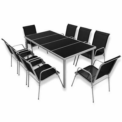 vidaXL Outdoor Dining Set 9 Pieces Black Glass Tabletop