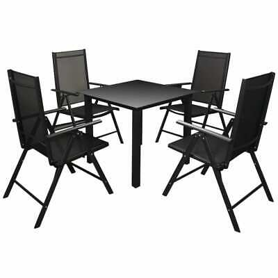 vidaXL Outdoor Dining Set Aluminium Black Dining Table and