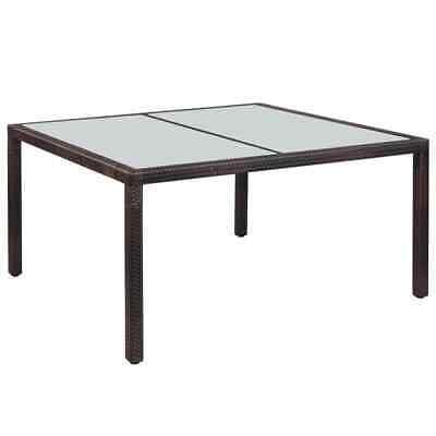 vidaXL Outdoor Dining Table Poly Rattan 150x90x75cm Brown