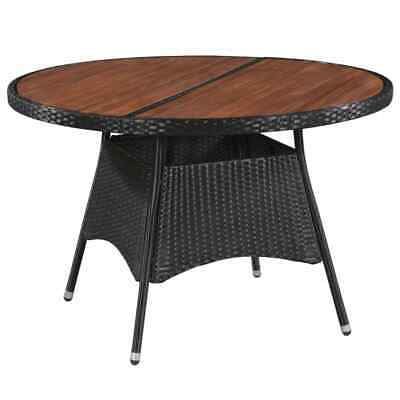 vidaXL Outdoor Dining Table Poly Rattan and Solid Acacia