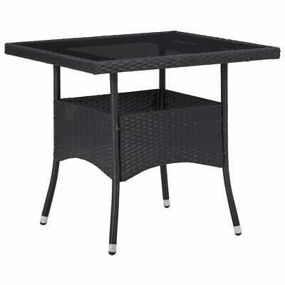 vidaXL Outdoor Garden Dining Table Black Poly Rattan and