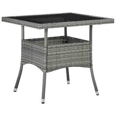 vidaXL Outdoor Garden Yard Dining Table Grey Poly Rattan and